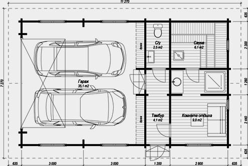 план гаража на две машины