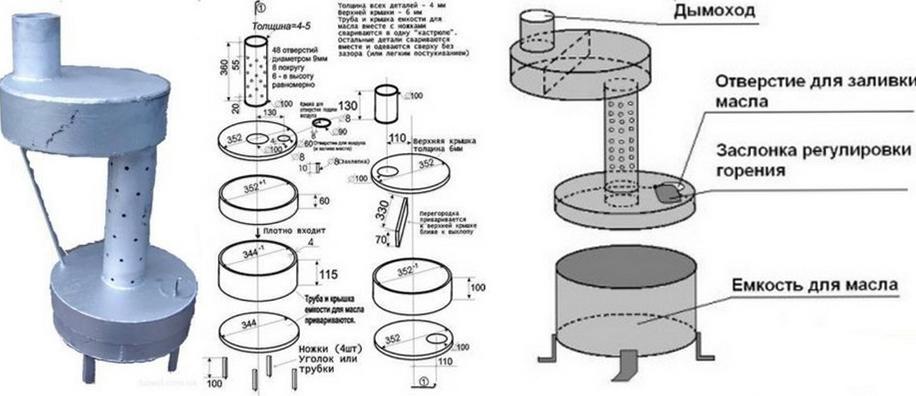 схема печки на жидком топливе