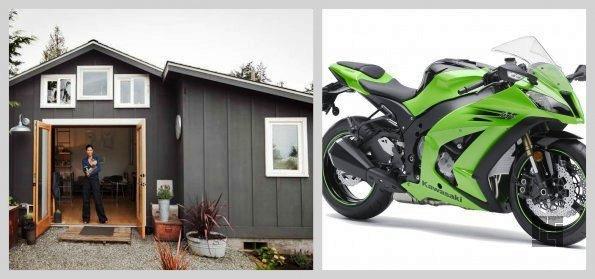 место для мотоцикла в гараже