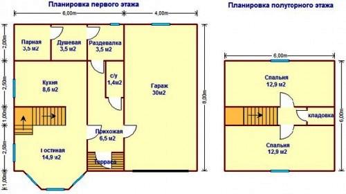 этажный дом с гаражом