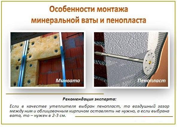 монтаж минеральной ваты и пенопласта