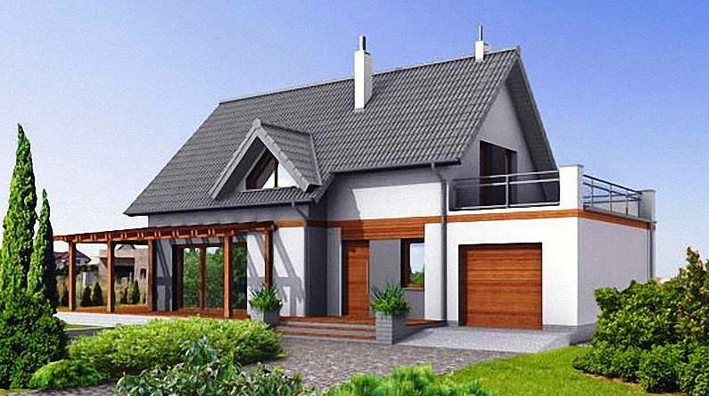 Уютный мансардный домик с собственным гаражом подойдет для небольшой семьи из 3-4 человек