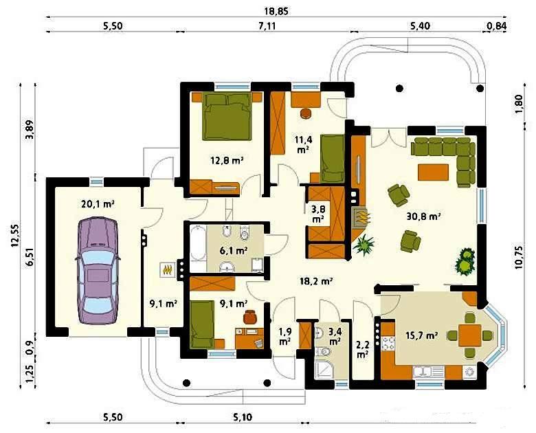 План дома со встроенным гаражом выгоден и удобен