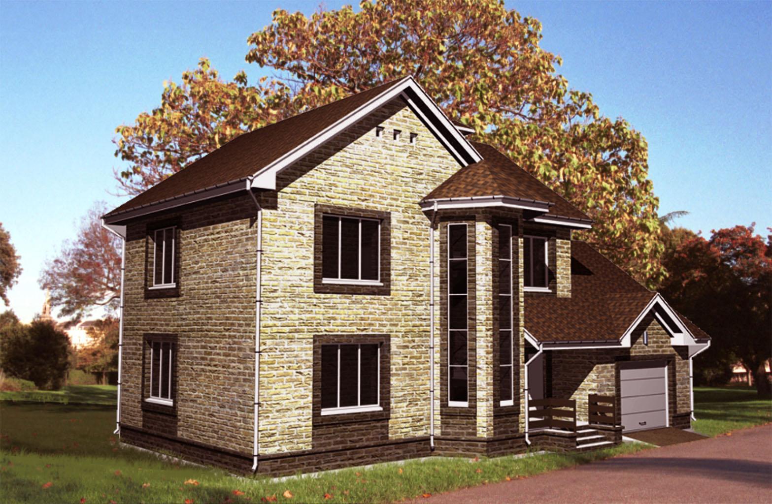 Двухэтажный дом с встроенным гаражом является выгодным решением для загородной постройки