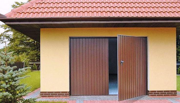 Автоматические распашные ворота в гараж