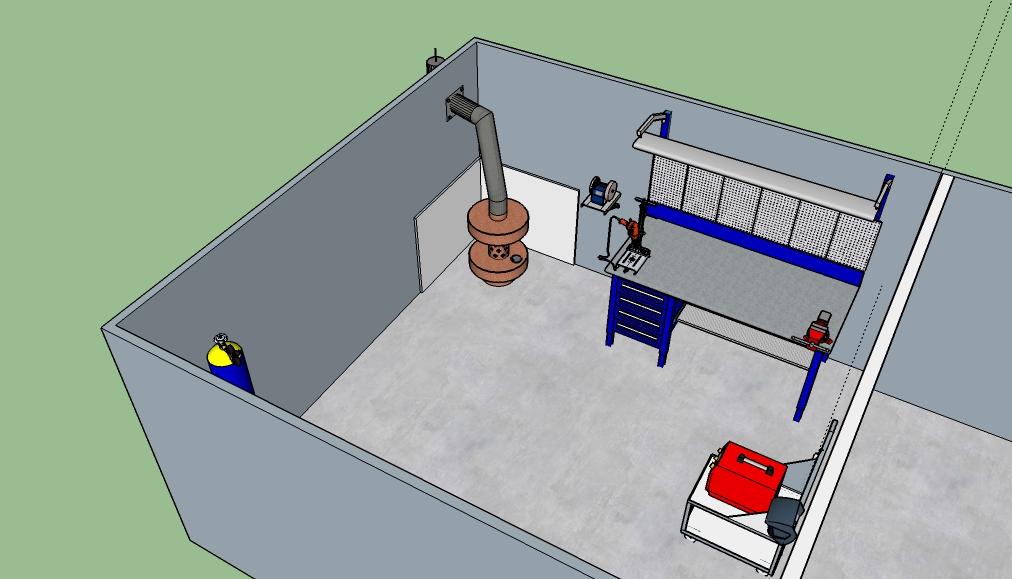 Схема гаражной системы отопления может включать самодельную печь
