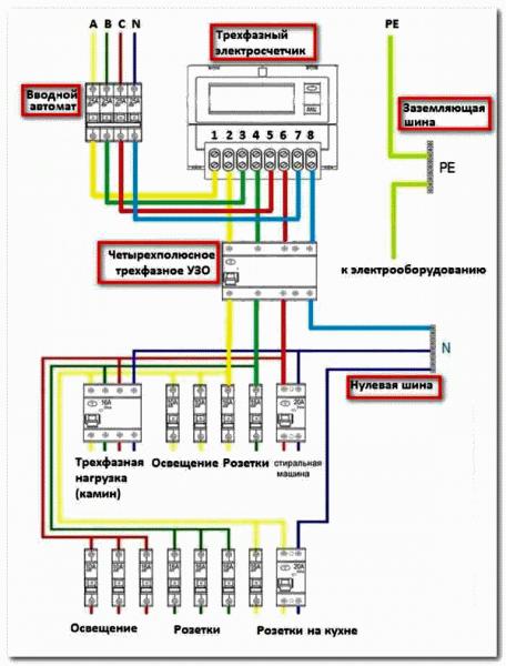 схема трехфазного счетчика