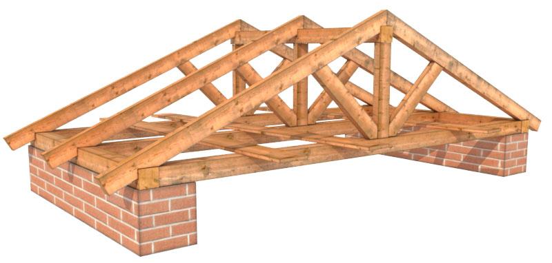 Система стропил двускатной крыши поста для самостоятельной сборки